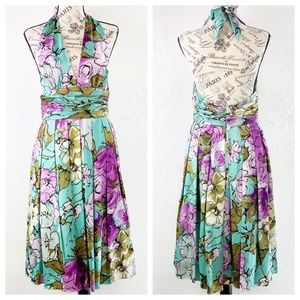 Adrianna Papell Floral Print Halter Dress Size 8